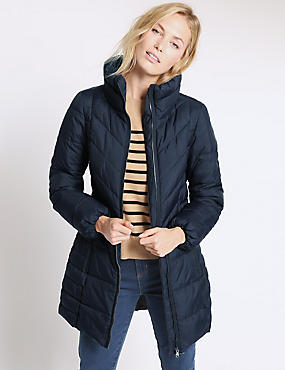 Padded & Quilted Coat, NAVY, catlanding