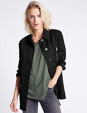 Pure Cotton Yoke Jacket, BLACK, catlanding