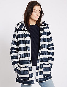 Gathered Detail Striped Anorak, NAVY/CREAM, catlanding
