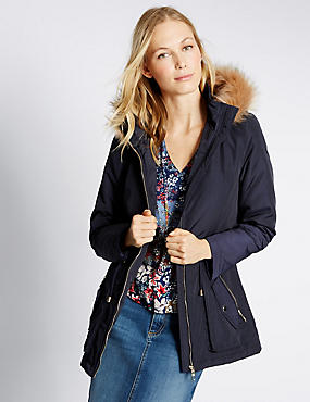 Parka Coat with Stormwear™, NAVY, catlanding