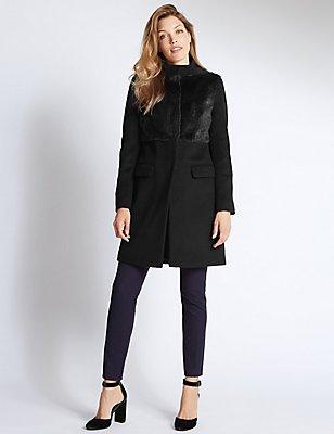 Manteau deux poches en laine mélangée, BLEU MARINE, catlanding