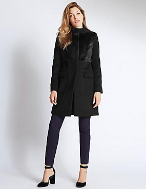 Wool Blend Twin Pocket Coat, NAVY, catlanding