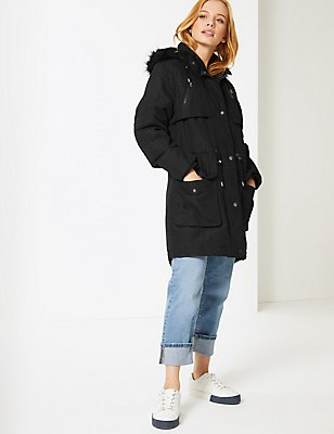 PETITE Faux Fur Padded Parka with Stormwear™, BLACK, catlanding