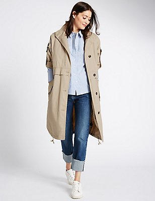 Pure Cotton Parka Coat with Stormwear™, SAND, catlanding