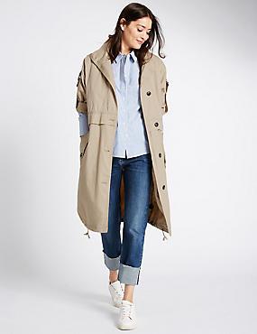 Pure Cotton Parka Coat with Stormwear™, SAND, catlanding