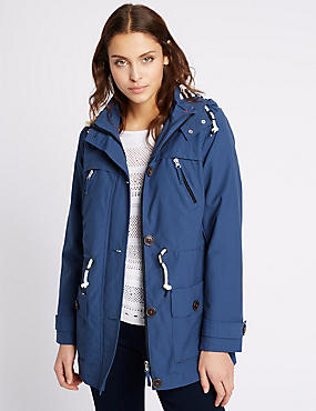 Hooded Anorak with Stormwear™, BLUE, catlanding