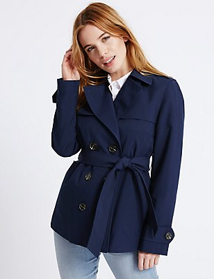 PETITE Belted Trench with Stormwear™    , NAVY, catlanding