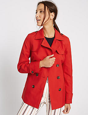 Belted Trench Coat with Stormwear™, RED, catlanding