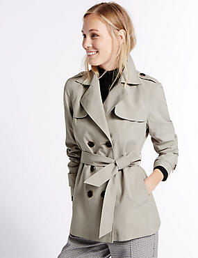 Belted Trench Coat with Stormwear™, PEBBLE, catlanding