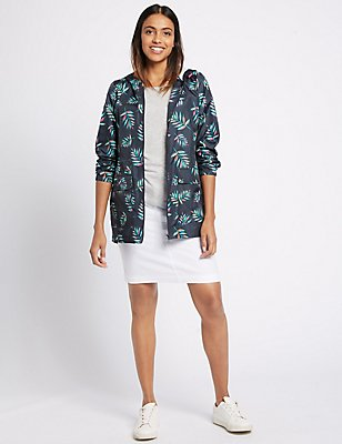 Pack Away Havana Leaf Print Anorak, NAVY MIX, catlanding