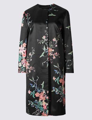Пальто приталенного кроя с цветочным принтом M&S Collection T493762