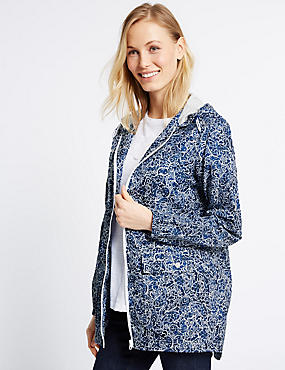 Pack Away Paisley Print Parka, BLUE/WHITE, catlanding