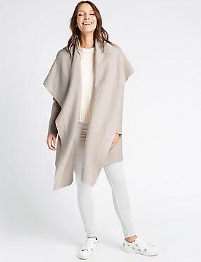 Wool Blend Textured Waterfall Jacket, OATMEAL, catlanding
