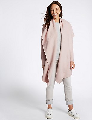 Wool Blend Textured Waterfall Jacket, PETAL PINK, catlanding