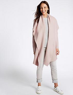 Wool Blend Textured Waterfall Jacket, PETAL PINK, catlanding