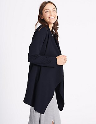 Open Front Waterfall Jacket, NAVY, catlanding