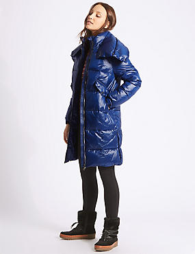 Large Collar Padded Coat with Stormwear™, RICH BLUE, catlanding