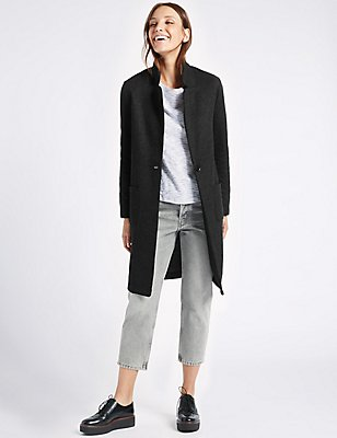 Textured One Button Jacket , GREY, catlanding