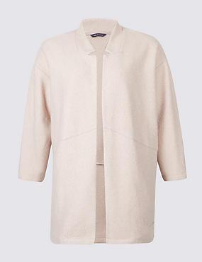 PLUS Textured Long Sleeve Jacket, PALE PINK, catlanding