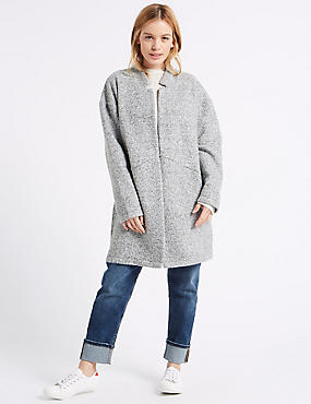 PETITE Textured Coat, GREY, catlanding