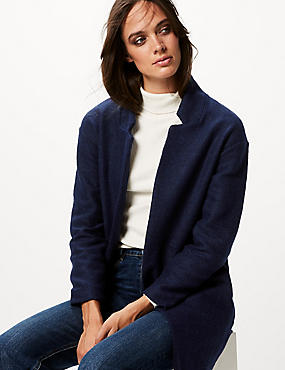 Textured Open Front Coat, NAVY, catlanding