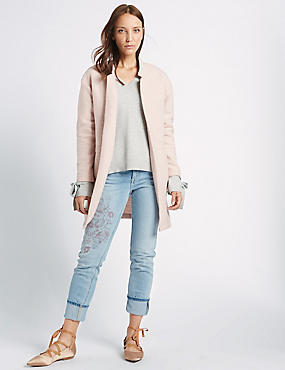 Textured Open Front Coat, PALE PINK, catlanding