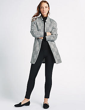 Textured Open Front Coat, BLACK MIX, catlanding