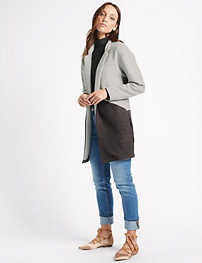 Textured Open Front Coat, MULTI, catlanding