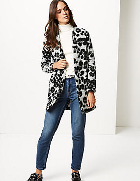 Textured Animal Print Jacket, BLACK MIX, catlanding