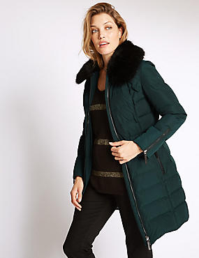 Faux Fur Padded & Quilted Coat, DARK PETROL, catlanding