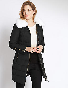 Faux Fur Padded & Quilted Coat , BLACK, catlanding