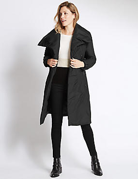 Padded & Quilted Duvet Coat , BLACK, catlanding