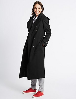 Cotton Rich Trench Coat with Stormwear™, BLACK, catlanding