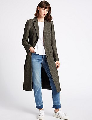 Wool Blend Textured Coat, CHARCOAL MIX, catlanding