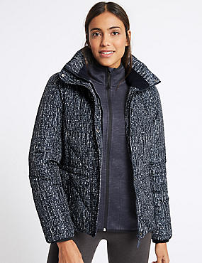 Printed Padded Jacket, NAVY MIX, catlanding