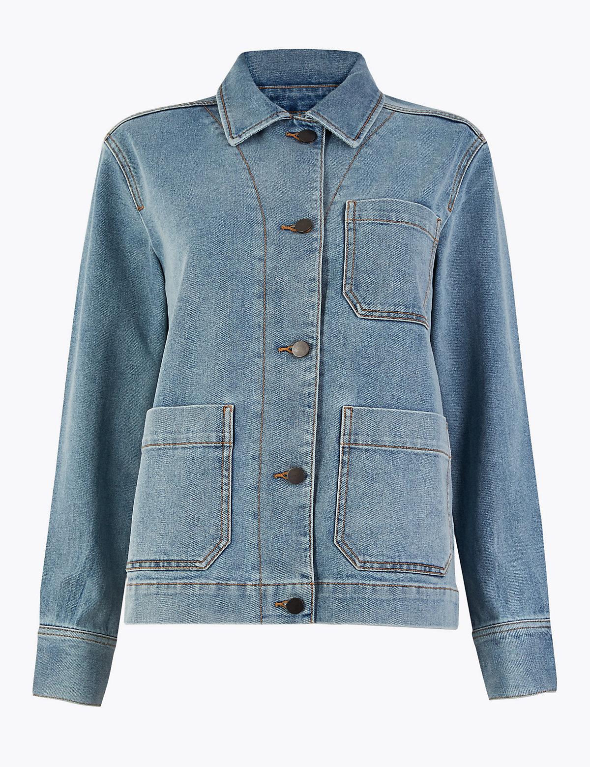 Джинсовая куртка с большими карманами M&S Collection. Цвет: деним