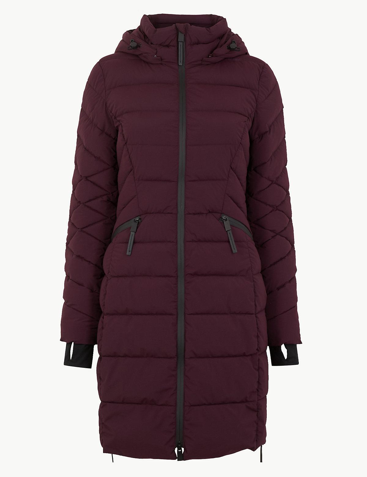 Стеганое длинное пальто с подкладкой