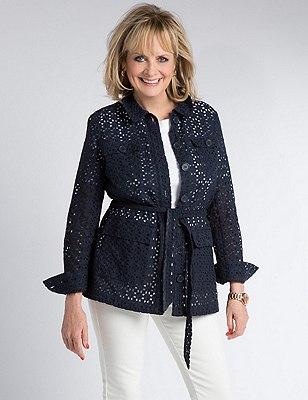 Pure Cotton Belted Broderie Jacket , NAVY, catlanding