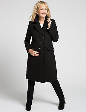 Loose Fit Twill Long Coat, BLACK, catlanding