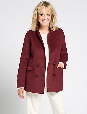 Double Face Overcoat with Wool, CLARET, catlanding