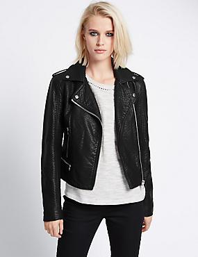 Faux Leather Biker Jacket, BLACK, catlanding