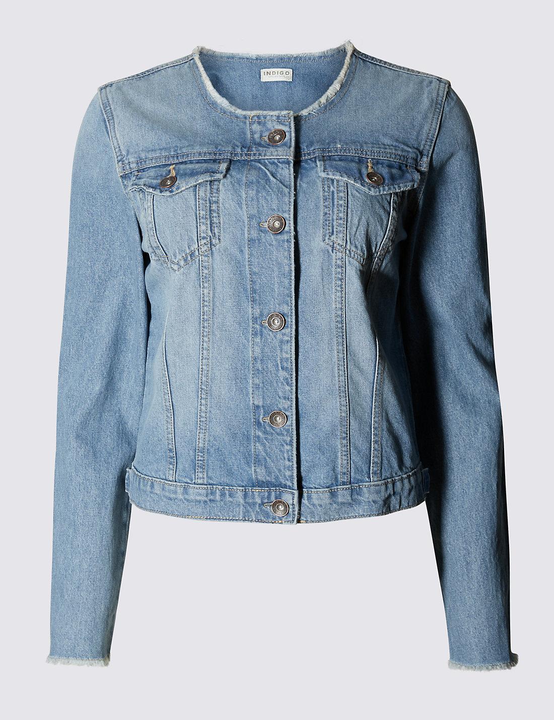 Collarless Denim Jacket - Collarless Denim Jacket M&S