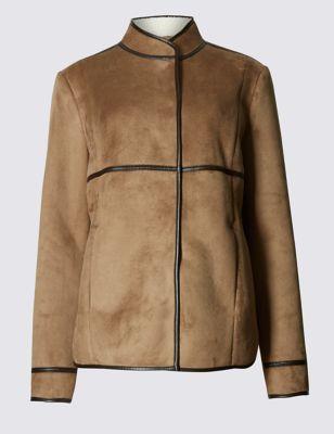 Дублёное пальто с контрастным кантом от Marks & Spencer