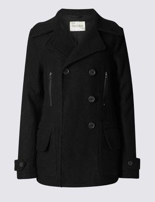 Пальто пикот из вискозы и шерсти с карманами на молнии Indigo Collection T496762