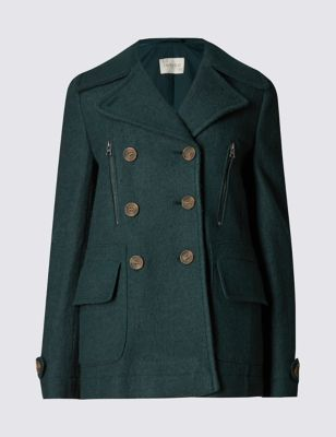 Двубортное пальто-пикот с добавлением шерсти Indigo Collection T496765