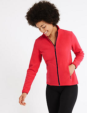 Funnel Neck Fleece Jacket, RED, catlanding