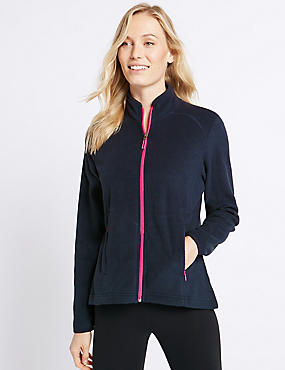 Funnel Neck Fleece Jacket, NAVY, catlanding