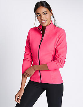 Funnel Neck Fleece Jacket, HOT PINK, catlanding