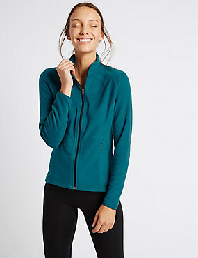 Funnel Neck Fleece Jacket, TEAL, catlanding