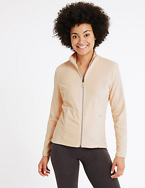 Funnel Neck Fleece Jacket, LIGHT PEACH, catlanding
